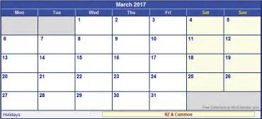 New Zealand Calendario 2018 March 2017 Calendar Nz Weekly Calendar Template