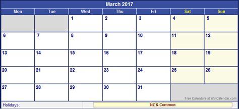 New Zealand Calendrier 2018 March 2017 Calendar Nz Weekly Calendar Template