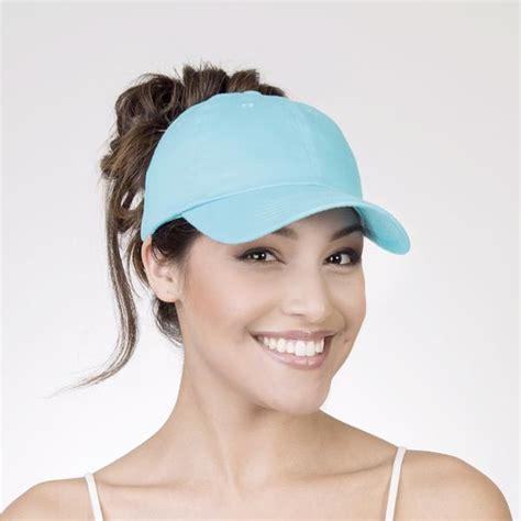 womans topper worn in ponytail spony ponytail baseball cap wear it 2 ways easy breezy