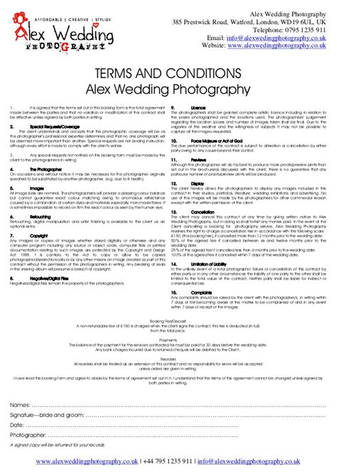 photography terms and conditions template wedding photography booking form and contract 2014