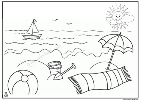 printable coloring pages beach summer sun beach coloring pages