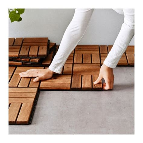 10 pk teak patio flooring runnen floor decking outdoor brown stained ikea