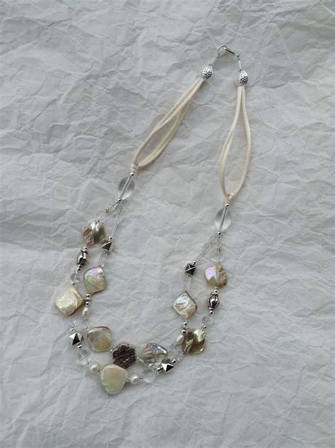 Handmade Pearl Jewellery - handmade of pearl pearls and crystals necklace