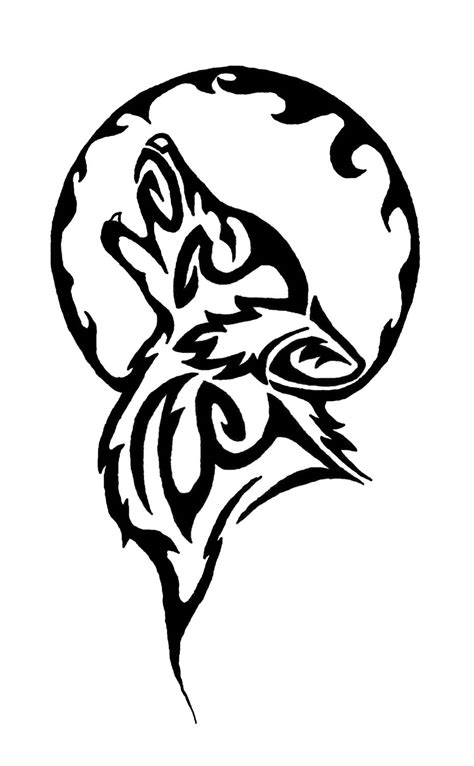 tribal wolf and moon tattoo tribal moon and wolf design