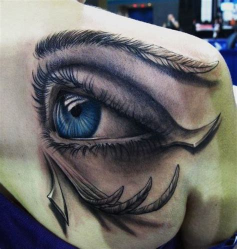 feather tattoo under eye feather covered blue eye 3d tattoo best tattoo ideas gallery