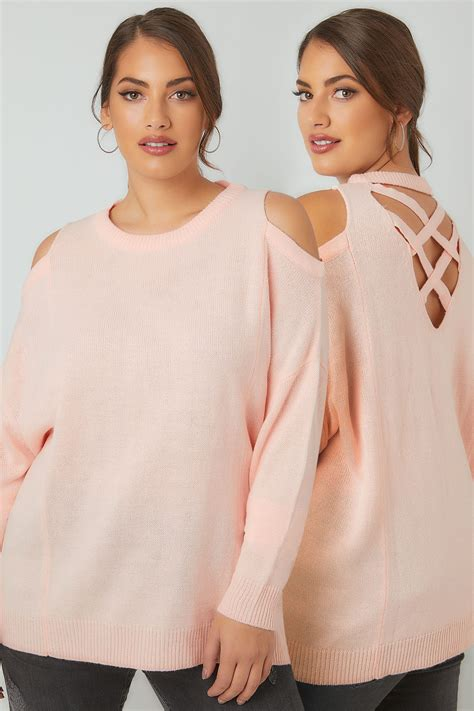 Po Address Finder Limited Collection Blush Pink Cold Shoulder Knitted Jumper With Lattice Back Plus