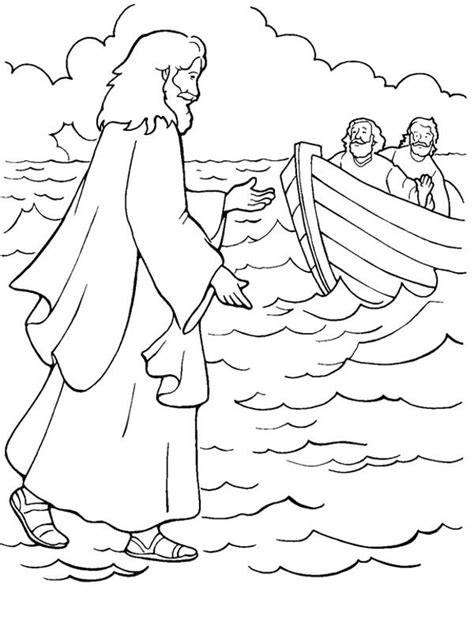 preschool coloring pages jesus one of miracles of jesus is walking on water coloring page
