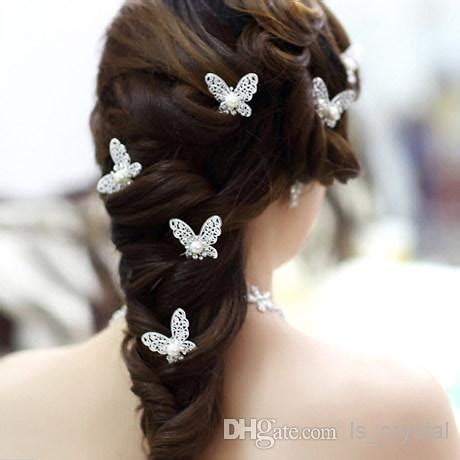 Butterfly Hair Accessories For Weddings by Shinning Butterfly Hair Mini Rhinestone Pearl Hair