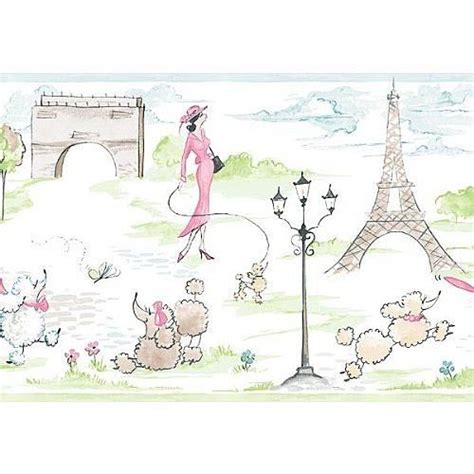 wallpaper borders bathroom ideas pink poodle and eiffel tower wallpaper border