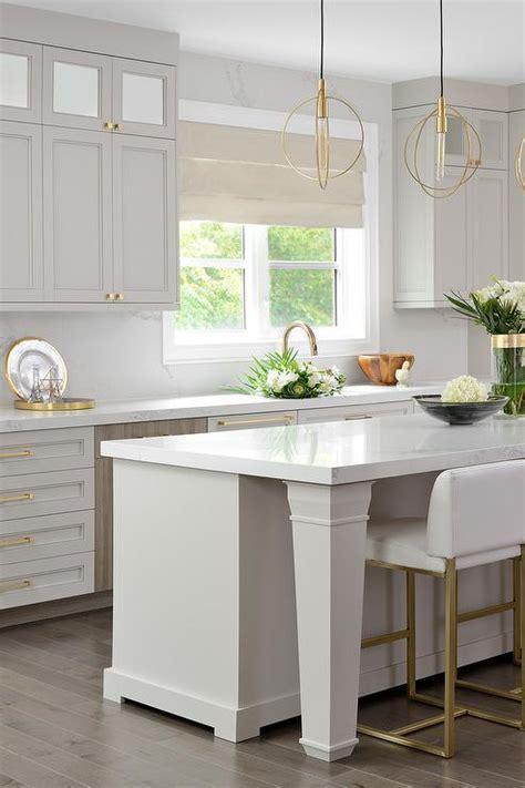 light gray kitchen cabinets  gold hardware transitional kitchen sherwin williams gray