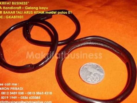 Gelang Kayu Tali Arus gelang kayu akar bahar tali arus hitam model polos 01
