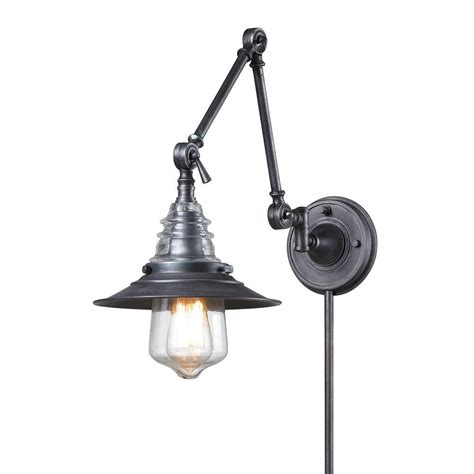 swing arm light wall mount titan lighting insulator glass 1 light weathered zinc wall
