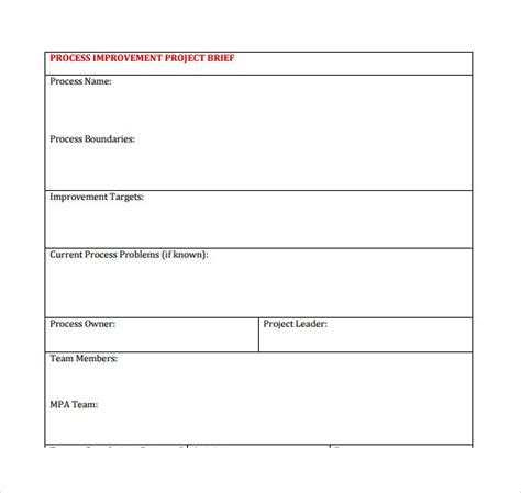 sle process improvement plan template process improvement template word 28 images process
