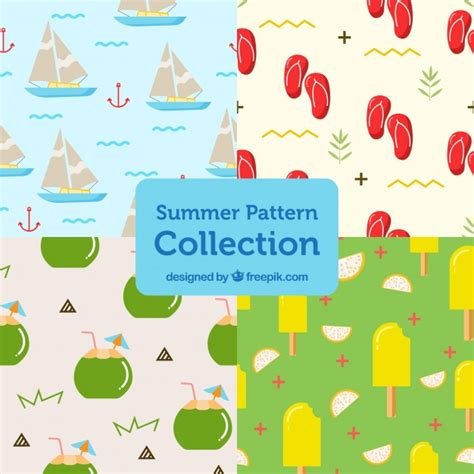 svg pattern object set of patterns with summer objects vector free download