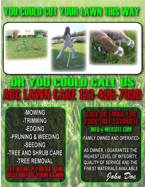 lawn card flyer template free 8 best images of lawn care flyers printable professional