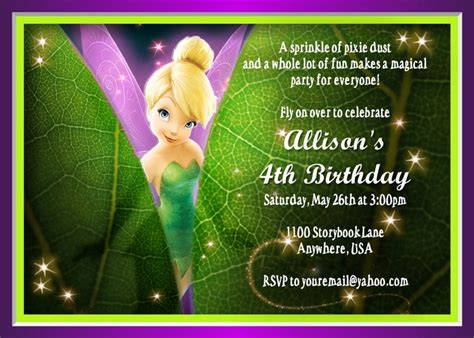 printable invitations tinkerbell tinkerbell invitation fairy invitation disney
