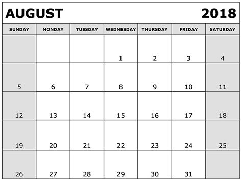 August 2018 Printable Calendar Template Free Printable Calendar 2018 Write In Calendar Template