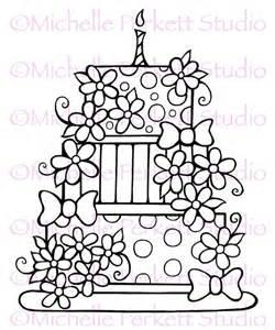 Digital stamp image birthday cake daisies flowers bows whimsical