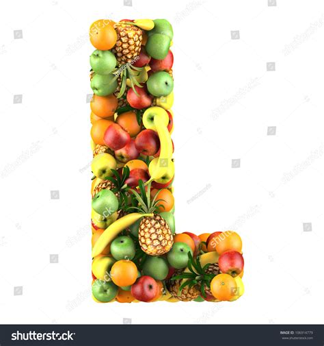 letter l fruits letter l made fruits isolated on stock illustration
