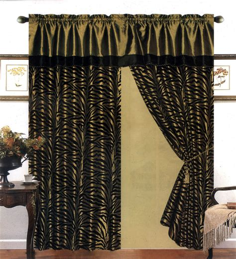 zebra curtain 4 pieces satin green black flocking zebra pattern window