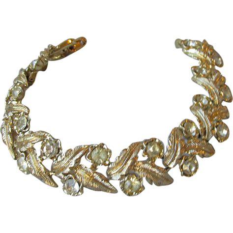 early coro vintage rhinestone leaf link bracelet