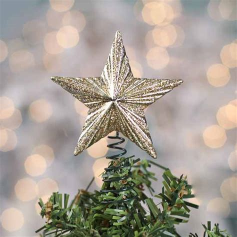 miniature gold glitter star tree topper christmas
