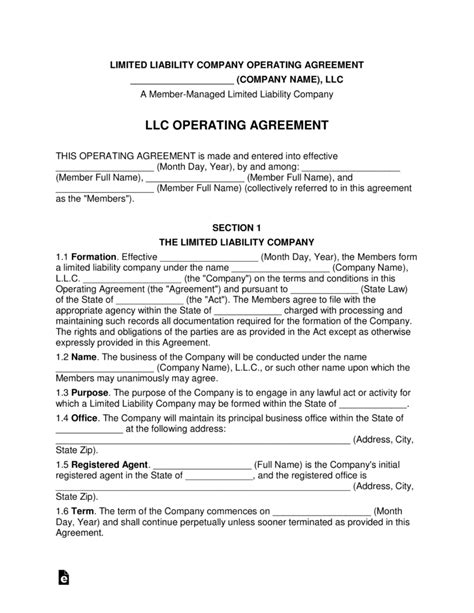 Llc Ownership Agreement Template Free Multi Member Llc Operating Agreement Template Pdf Word Eforms Free Fillable Forms