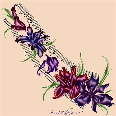 music and flower tattoo designs 17 iris designs and ideas