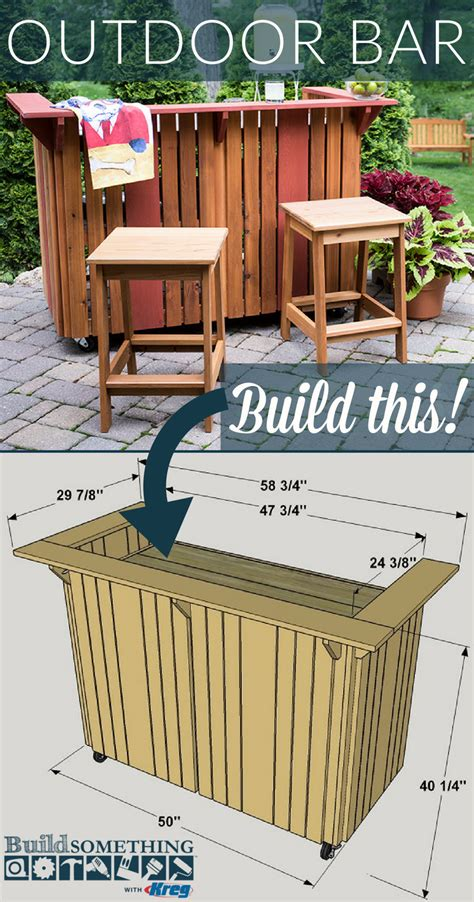 diy outdoor bar  printable project plans  buildsomethingcom step   entertaining