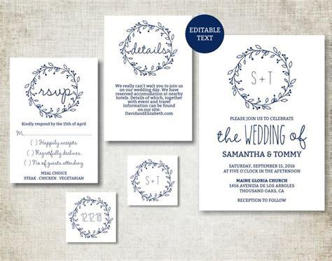 wedding invite text template wedding invitation template navy classic wreath wedding