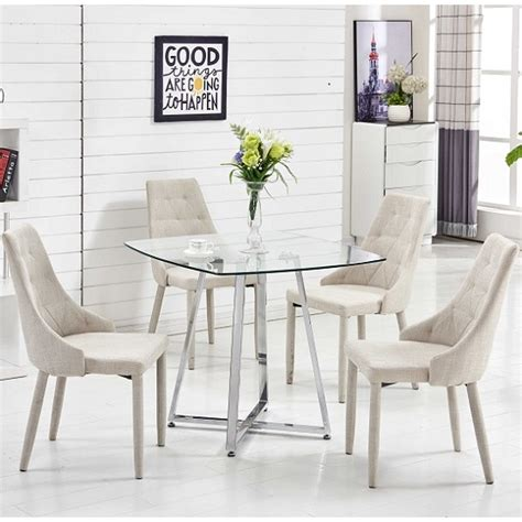 square glass dining table melito glass dining table square 4 wilkinson beige chairs