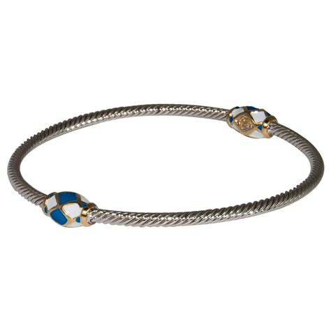 blue white bangle wire bracelet by medeiros