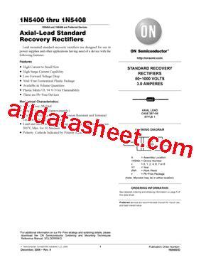 1n5408 diode datasheet 1n5408 datasheet pdf on semiconductor