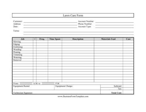 Great For Landscapers And Gardeners This Printable Lawn Care Form Covers Mowing Edging And Landscaping Budget Template