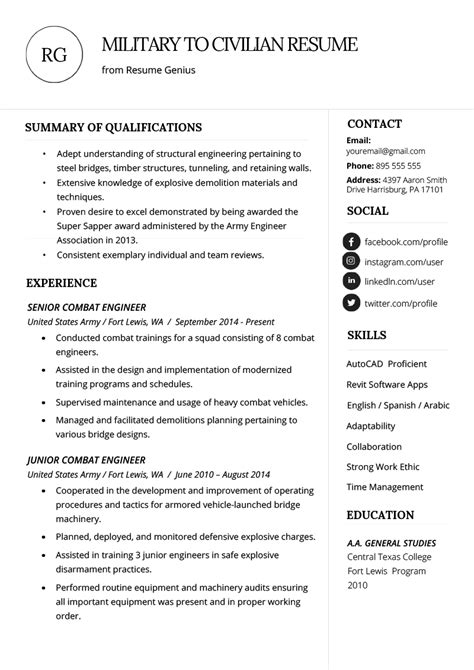 army to civilian resume examples marvellous design army resume