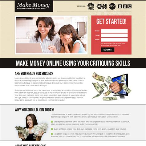 Design Online And Earn Money | money online landing page design templates to earn money