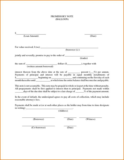 8 free promissory note template for personal