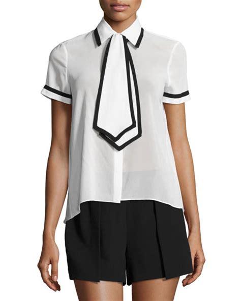 Tie Neck Sleeve Shirt oswald tie neck sleeve shirt white