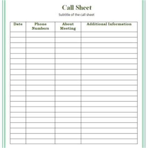 Simple Call Sheet Template Sample : Helloalive
