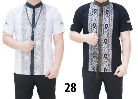 Baju Koko Fit L Lengan Pendek 077 Katun Dolby Bordir Kualitas Bagus jual baju koko ribella shop