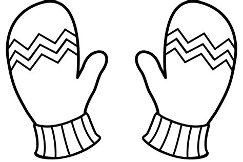 coloring page of a pair of mittens pair of mittens clipart 33