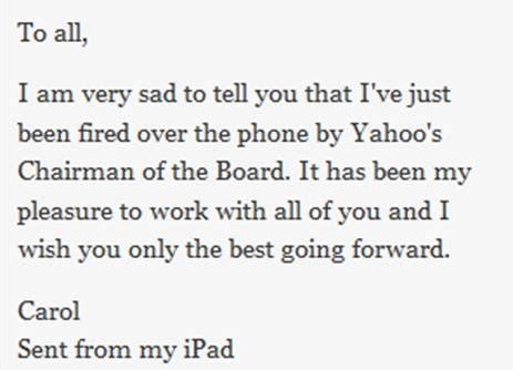 ive been sporting the same hairstyle yahoo ceo quot i ve just been fired over the phone