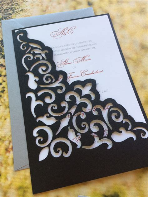 wedding invitation pocket sleeves lasercut wedding invitation sleeve pocket scroll