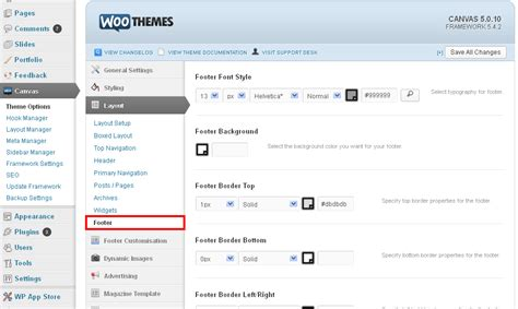 theme editor canvas customize footer in canvas theme step by step