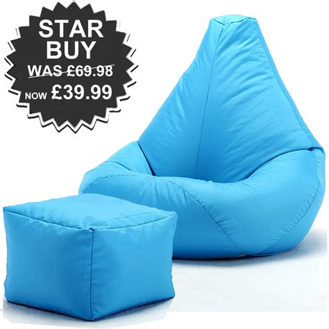 high back bean bag with footstool highback beanbag and footstool for indoors or outdoors