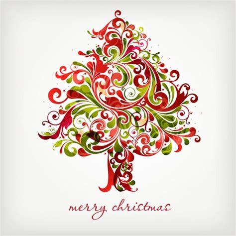 floral christmas tree swirls tree for christmas graphic