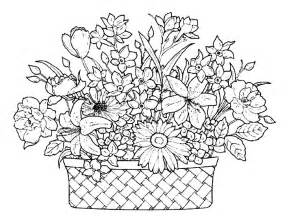 beautiful coloring pages a basket of beautiful flowers coloring pages