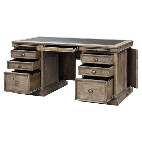 Classic Wood Desk by Ronin Rustic Lodge Warm Pine Wood Classic Desk Kathy Kuo