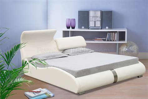 white leatherette contemporary bed wadjustable flap headboard