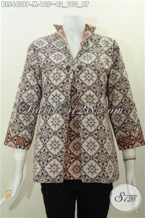 Jas Kantor Wanita Warna 222 batik blus terkini dengan desain model jas berpadu kombinasi dua warna yang lebih modern dan